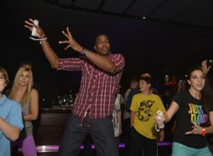 Dwight Howard playing JustDance at Lakers Casino Night presented by OneWest Bank and Pechanga Resort & Casin