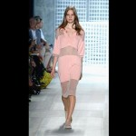 Lacoste has alternating strips of sheer fabric across its of-the-moment pink, sporty dress.